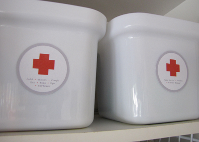 Organise your medicine cabinet with kitchen bins, baskets and stylish labels!